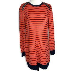 Michael Kors Navy & Orange Striped Sweater Dress